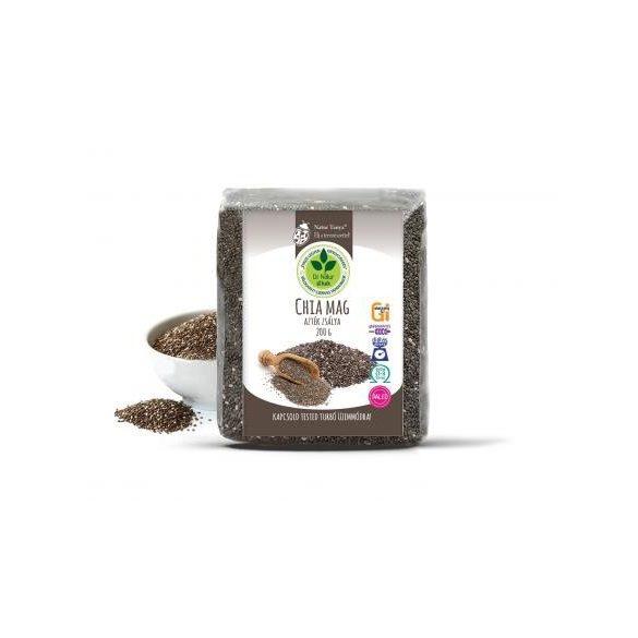 Dr. Natur étkek, Prémium Chia mag (Fekete Salvia hispanica, Azték zsálya). Tápanyagbomba! Ételsűrítésére is! 200g