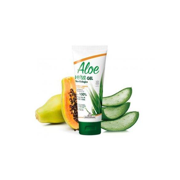 Aloe vera gél papayás - vitaminokkal és narancs illóolajjal. ECOBIO minősítésű 100%-os, külsőleg. 200 ml