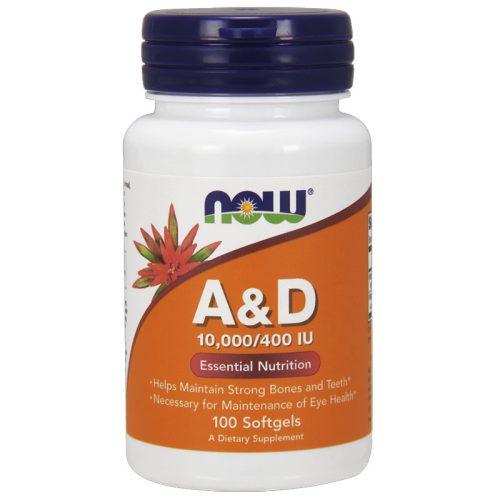 A & D vitamin 10,000 100 db softgels NOW
