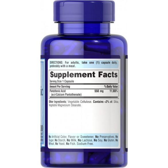 B5 vitamin Pantotén sav 550 mg 100 db kapszula